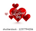 glossy heart shapes for happy... | Shutterstock .eps vector #1257794206