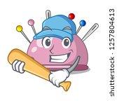 playing baseball wicker basket... | Shutterstock .eps vector #1257804613