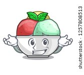 grinning sorbet with mint bowl...   Shutterstock .eps vector #1257808513