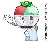 waiter scoops of sorbet in...   Shutterstock .eps vector #1257811099