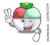two finger sorbet with mint...   Shutterstock .eps vector #1257817279