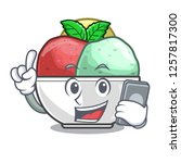 with phone sorbet ice cream in...   Shutterstock .eps vector #1257817300