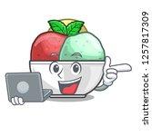 with laptop sorbet ice cream in ...   Shutterstock .eps vector #1257817309