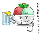 with juice scoops of sorbet in...   Shutterstock .eps vector #1257819556