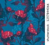 imprints roses   leaves  stems  ...   Shutterstock . vector #1257844066