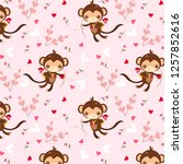 monkey cupid and hearts pattern ... | Shutterstock .eps vector #1257852616