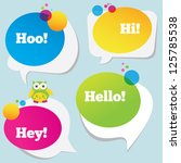 speech bubbles and a funny owl | Shutterstock .eps vector #125785538