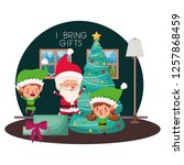 couple of elves and santa claus ... | Shutterstock .eps vector #1257868459