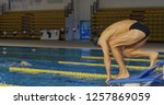 professional swimmer with...   Shutterstock . vector #1257869059
