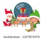 santa claus and elf with... | Shutterstock .eps vector #1257872470