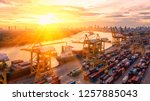 container ship in export and... | Shutterstock . vector #1257885043