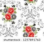seamless white background on... | Shutterstock . vector #1257891763