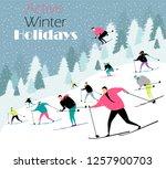 people ski in the woods. active ...   Shutterstock .eps vector #1257900703
