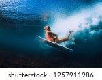 surfer woman with surfboard... | Shutterstock . vector #1257911986