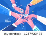 car sharing hand holding auto... | Shutterstock .eps vector #1257923476