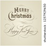 calligraphic merry christmas... | Shutterstock .eps vector #1257929650