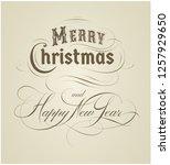 calligraphic merry christmas... | Shutterstock .eps vector #1257929650