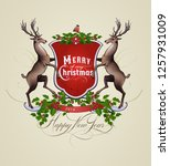 vintage christmas and new year... | Shutterstock .eps vector #1257931009