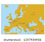 map of european refugee routes | Shutterstock .eps vector #1257934936