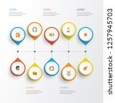 multimedia icons flat style set ... | Shutterstock . vector #1257945703