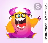 singing monster cartoon.... | Shutterstock .eps vector #1257948823