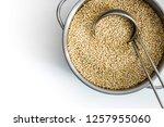 raw white quinoa in a pan   Shutterstock . vector #1257955060