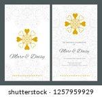 invitation or wedding card with ... | Shutterstock .eps vector #1257959929