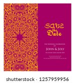 invitation or wedding card with ... | Shutterstock .eps vector #1257959956