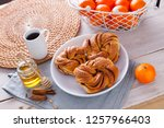 homemade cinnamon brioche buns  ... | Shutterstock . vector #1257966403