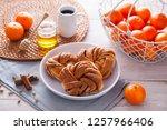 homemade cinnamon brioche buns  ... | Shutterstock . vector #1257966406