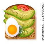 avocado toast with fresh slices ... | Shutterstock .eps vector #1257970903