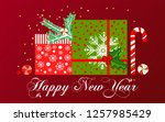 new year card. gifts under the... | Shutterstock . vector #1257985429