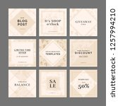 9 square layout templates for... | Shutterstock .eps vector #1257994210