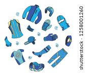 winter running gear set in... | Shutterstock .eps vector #1258001260