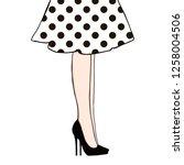 Woman Legs In Dress Polka Dots...