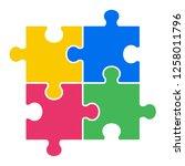 4 pieces puzzle design | Shutterstock .eps vector #1258011796