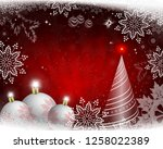 christmas red design with rays... | Shutterstock .eps vector #1258022389