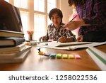 meeting of designer working... | Shutterstock . vector #1258022536