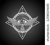 masonic symbol. sacred geometry ... | Shutterstock .eps vector #1258024600