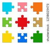 9 pieces puzzle design | Shutterstock .eps vector #1258025473