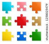 9 pieces puzzle design | Shutterstock .eps vector #1258025479