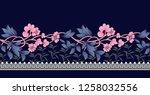 black vintage flower border on... | Shutterstock .eps vector #1258032556