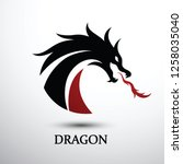 chinese dragon silhouette flat... | Shutterstock .eps vector #1258035040