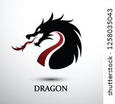 chinese dragon silhouette flat... | Shutterstock .eps vector #1258035043