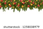 christmas tree garland on a... | Shutterstock . vector #1258038979