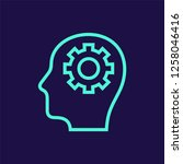 human head with gear line...   Shutterstock .eps vector #1258046416