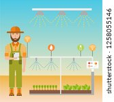 smart farm flat background.... | Shutterstock .eps vector #1258055146