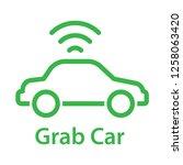 grab car icon. simple line icon.... | Shutterstock .eps vector #1258063420