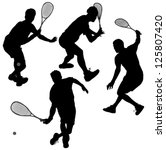 squash players silhouette on