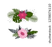 vector tropical wreaths and... | Shutterstock .eps vector #1258076110